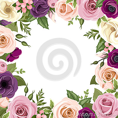 Frame with colorful roses and lisianthus flowers vector frame with colorful roses and lisianthus flowers vector illustration vector illustration altavistaventures Choice Image