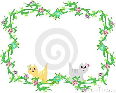 Frame of Cute Cats and Tropical Plants