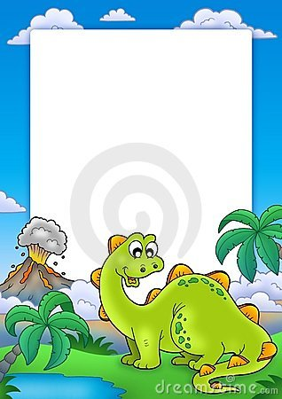 Frame with cute dinosaur