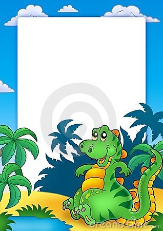 Frame with cute sitting dinosaur