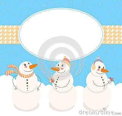 Frame with cute Snowmen