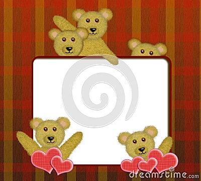 Frame with cute teddy bears