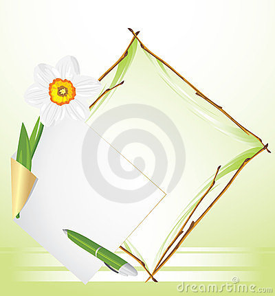 Frame with daffodil. Festive background
