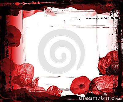 Frame de Grunge com flores roxas