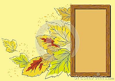 Frame de madeira e folhas de outono