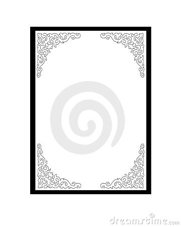Frame with decoration in black and white