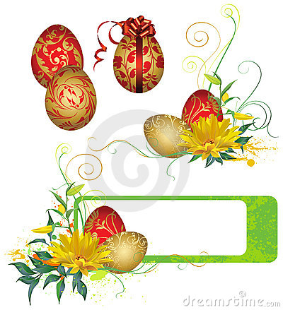 Frame with Easter eggs and flowers