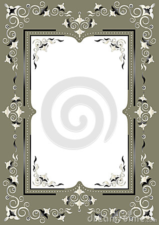 Frame with Eastern decor on a greenish gray backgr