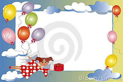 Frame:fairy with gift and balloons.