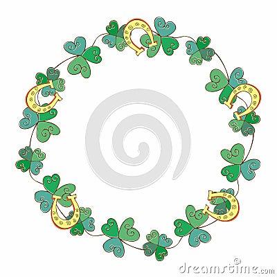 Frame festive wreath for St. Patrick`s dayFestive wreath for St. Patrick`s day. Vector illustration Vector Illustration