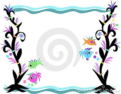 Frame of fish seaweed and waves royalty free stock image for Fish photo frame