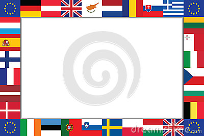 Frame of the flags of EU countries