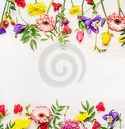 Free Frame From A Variety Of Spring  Summer Flowers, Space For Text Stock Images - 71614704