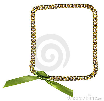 Frame from gold chainlet with green ribbon
