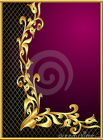 Frame with gold(en) pattern on violet background
