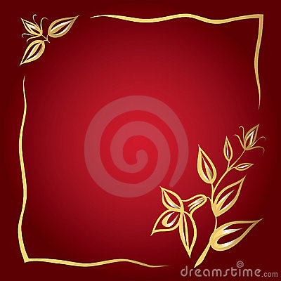 Frame of golden flowers on a red background