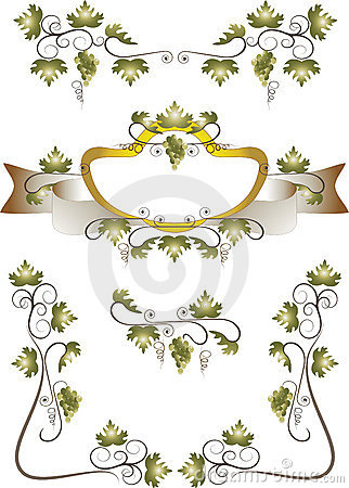 Frame of grape leaves. Pattern