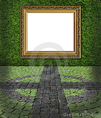 Frame on green painted stone wall backgroun Stock Photo