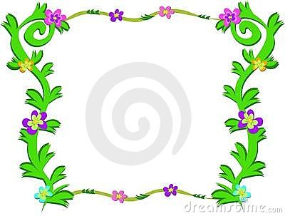Frame of Green Plants and Colorful Flowers