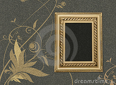 Frame On A Grey Background With A Flower Pattern Stock Photography - Image: 7326952