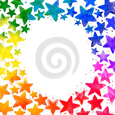 Frame with hand drawn watercolor colorful stars Vector Illustration