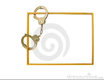 Frame with handcuffs