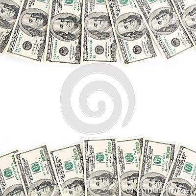 Frame of hundreds dollars isolated over white