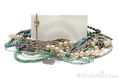 Frame of jewelry: turquoise, pearls, platinum