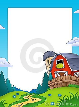 Frame with landscape and barn