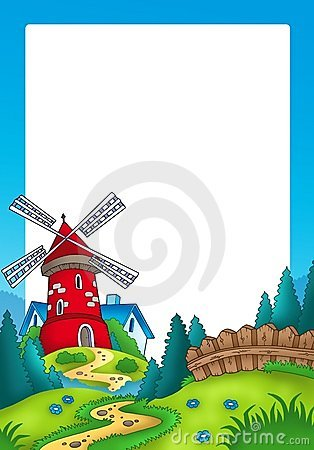 Frame with landscape and red mill
