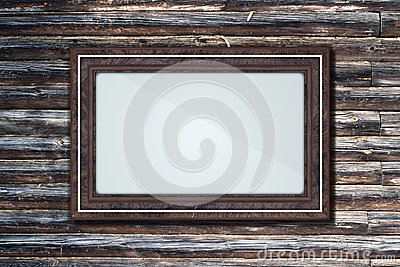 Frame on a log wall