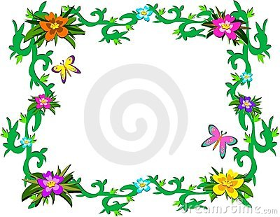 Frame of Lush Tropical Plants and Butterflies