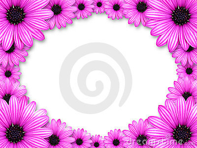 Frame made from pink flowers