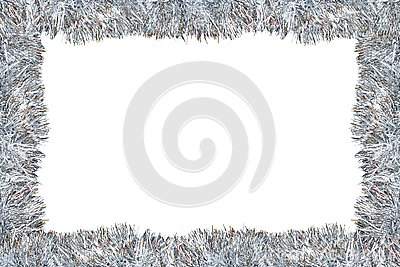 Frame made from silver tinsel decorations for christmas, isolated on white background with clipping path and copy space. Stock Photo