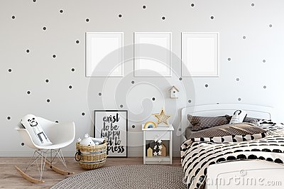 Frame mock up in child room interior. Interior scandinavian style. 3d rendering, 3d illustration Stock Photo