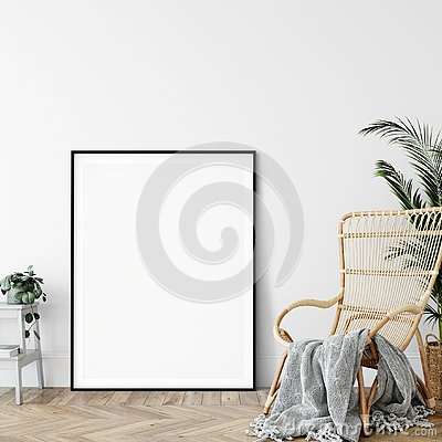 Free Frame Mockup. Living Room Interior Wall Mockup. Wall Art. 3d Rendering, 3d Illustration. Royalty Free Stock Photos - 135791118
