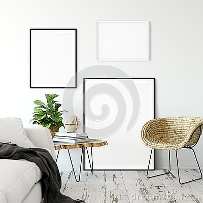 Free Frame Mockup. Living Room Interior Wall Mockup. Wall Art. 3d Rendering, 3d Illustration. Royalty Free Stock Photo - 135791165