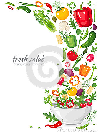 Free Frame Of Fresh, Ripe, Delicious Vegetables In Vegan Salad Isolated On White Background. Healthy Organic Food In A Plate Stock Photo - 91202000