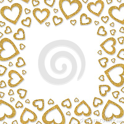 Free Frame Of Shiny Gold Metal Hearts. Glitter Powder Border For St.Valentine`s Day Stock Photos - 101859603