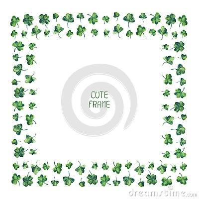 Free Frame Of Watercolor Green Clover Leaves For Saint Stock Photography - 48660802