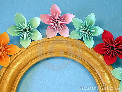 Frame and origami flowers