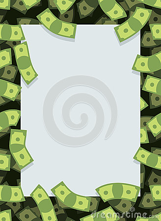 Free Frame Out Of Money. Many Dollars Flying. Space For Text. Cash Gr Stock Images - 62040214