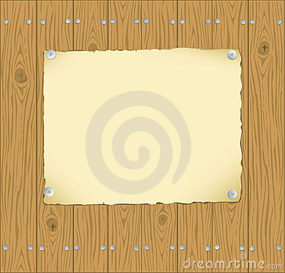 The frame of the paper pinned to wooden planks