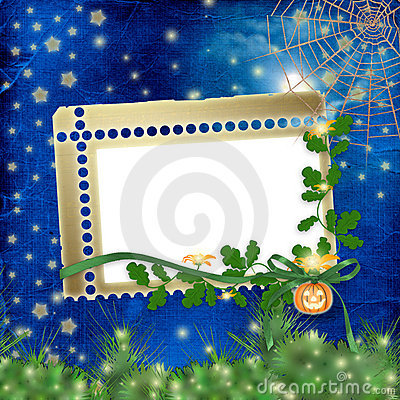 Frame for photo with pumpkin and flowers