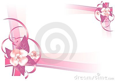 Frame with pink flowers, cdr vector