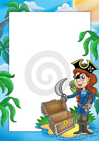 Frame with pirate girl on beach