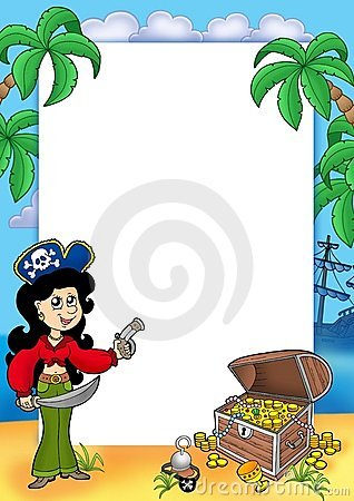 Frame with pirate girl and treasure 1