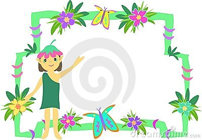Frame of Pixie, Flowers, and Butterflies