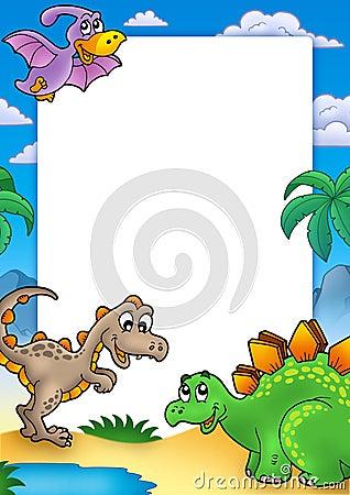 Frame pré-histórico com dinossauros