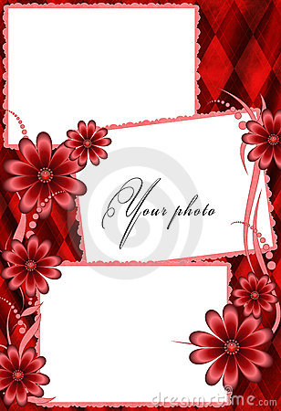 Frame red with flowers